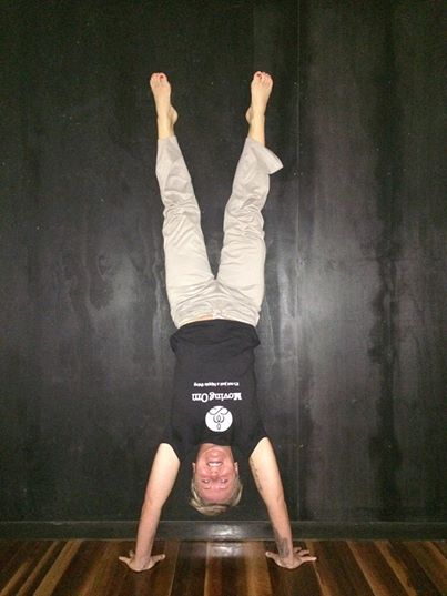 Km doing a handstand